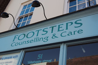 Footsteps charity shop sign